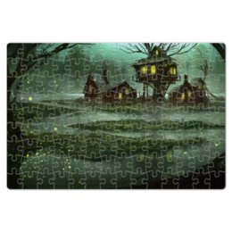 """Пазл магнитный 18 x 27 (126 элементов) """"Домик на болоте"""" - болото, дом, сказка"""