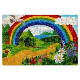 """Пазл магнитный 18 x 27 (126 элементов) """"Прекрасный день"""" - радуга, дети, ручная работа, детский рисунок, детская работа"""
