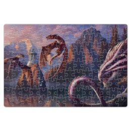 """Пазл магнитный 18 x 27 (126 элементов) """"Драконы"""" - драконы, dragons, озеро, горы"""