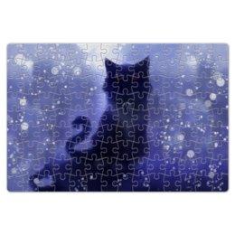 """Пазл магнитный 18 x 27 (126 элементов) """"Черный кот"""" - кот, инь и ян"""