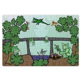 """Пазл магнитный 18 x 27 (126 элементов) """"Семья троллей живет под мостом"""" - дракон, отдых, семья, природа, тролли под мостом"""