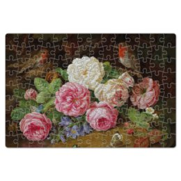 "Пазл магнитный 18 x 27 (126 элементов) ""Цветы"" - цветы, птицы"
