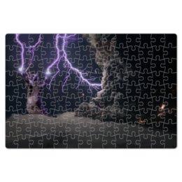 """Пазл магнитный 18 x 27 (126 элементов) """"Кот-громовержец"""" - котэ, молния, гром, зевс, громовержец"""