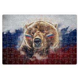 """Пазл магнитный 18 x 27 (126 элементов) """"Русский Медведь"""" - футбол, медведь, россия, флаг, триколор"""
