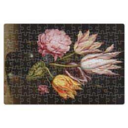 """Пазл магнитный 18 x 27 (126 элементов) """"Букет из тюльпанов, роз, клевера, и цикламен"""" - цветы, картина, босхарт"""