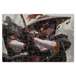 """Пазл магнитный 18 x 27 (126 элементов) """"Самурай"""" - самурай, воин, girl, девушка с мечом, warrior"""