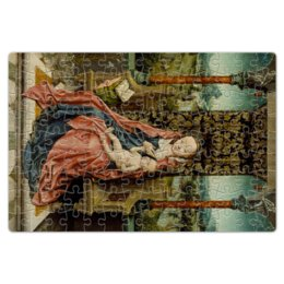 "Пазл магнитный 18 x 27 (126 элементов) ""Мадонна с младенцем на троне (Альберт Баутс)"" - картина, живопись, возрождение, баутс"