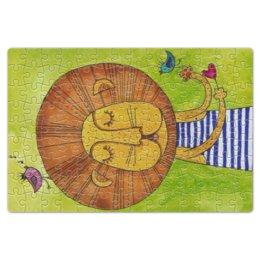 """Пазл магнитный 18 x 27 (126 элементов) """"Лев Бонифаций в тельняжке"""" - лев, акварель, грива, бонифаций, тельняжка"""