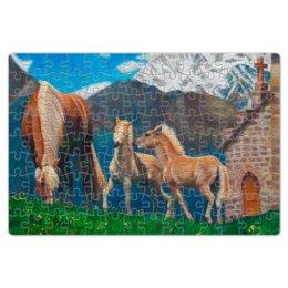 """Пазл магнитный 18 x 27 (126 элементов) """"Лошадь с жеребятами"""" - горы, масло, животное, живопись, альпы"""