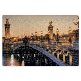 """Пазл магнитный 18 x 27 (126 элементов) """"Франция"""" - город, страна, мост, огни, вечер"""