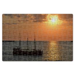 "Пазл магнитный 18 x 27 (126 элементов) ""Закат"" - лето, фото, море, закат, корабль"