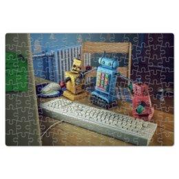 """Пазл магнитный 18 x 27 (126 элементов) """"Роботы"""" - роботы, robots, рендер, игрушки, клавиатура"""