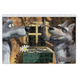 """Пазл магнитный 18 x 27 (126 элементов) """"Волки из мультфильма """"Маша и медведь"""" """" - волки, маша и медведь, маша"""