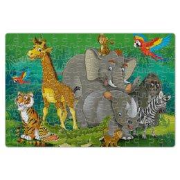 """Пазл магнитный 18 x 27 (126 элементов) """"животные"""" - зебра, слон, тигр, жираф, носорог"""