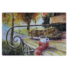 """Пазл магнитный 18 x 27 (126 элементов) """"Осеннее тепло"""" - кот, осень, чай, осенний парк"""
