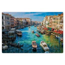 "Пазл магнитный 18 x 27 (126 элементов) ""город"" - город, вода, река, лодка, лодки"
