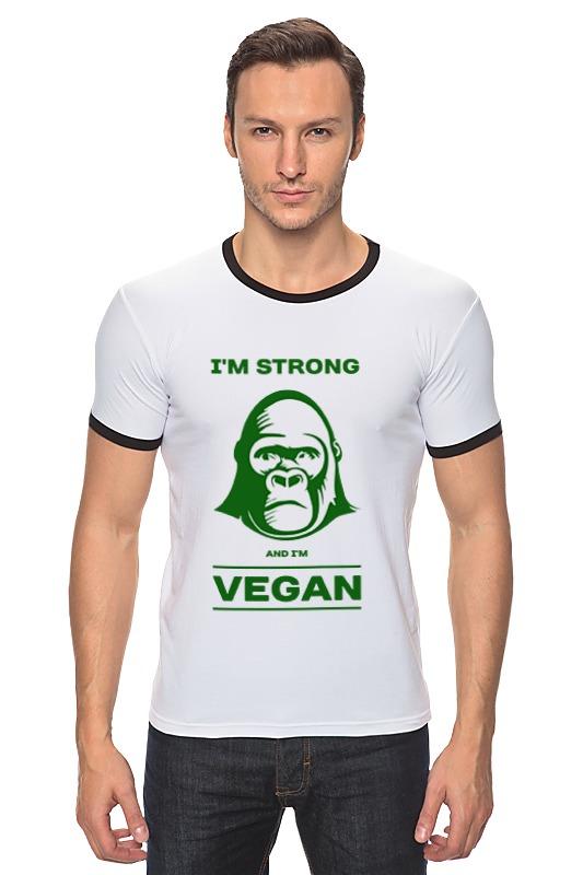 Футболка Рингер Printio I'm strong & i'm vegan отсутствует природные ресурсы и окружающая среда