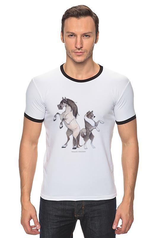 Футболка Рингер Printio Якутская лошадь/якутская лайка