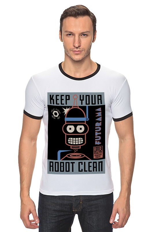 Футболка Рингер Printio Keep your robot clean цена