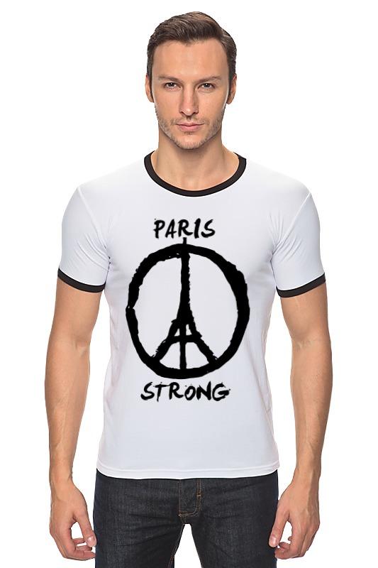футболка стрэйч printio pray for paris молитесь за париж Футболка Рингер Printio Париж сильный (мир парижу)