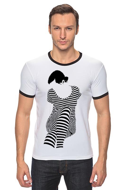 Футболка Рингер Printio Белая,стильная,с рисунком,чайки,полосатая девушка