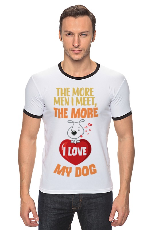 Футболка Рингер Printio Я люблю свою собаку большую мягкую игрушку собаку лежа в москве