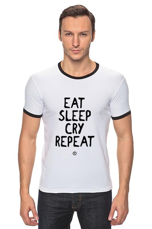 Футболка Рингер Printio Eat cry repeat by brainy футболка repeat футболка