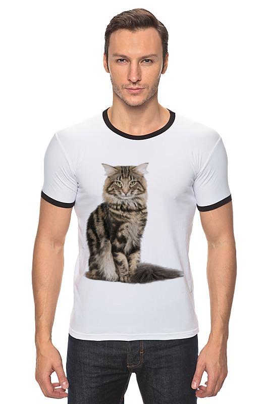 Футболка Рингер Printio Милый пушистый кот куплю кота мейн кун полукровки за 1000 рублей в москве