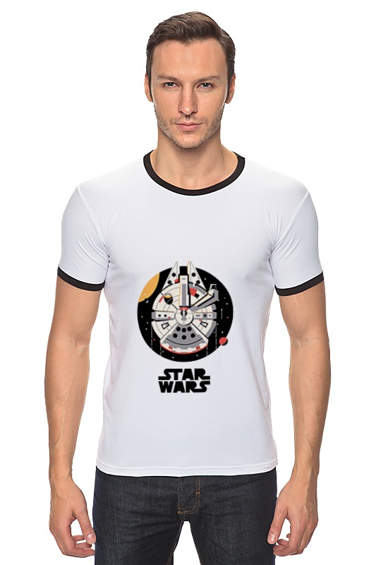 Футболка Рингер Printio Тысячелетний сокол star wars космический корабль тысячелетний сокол