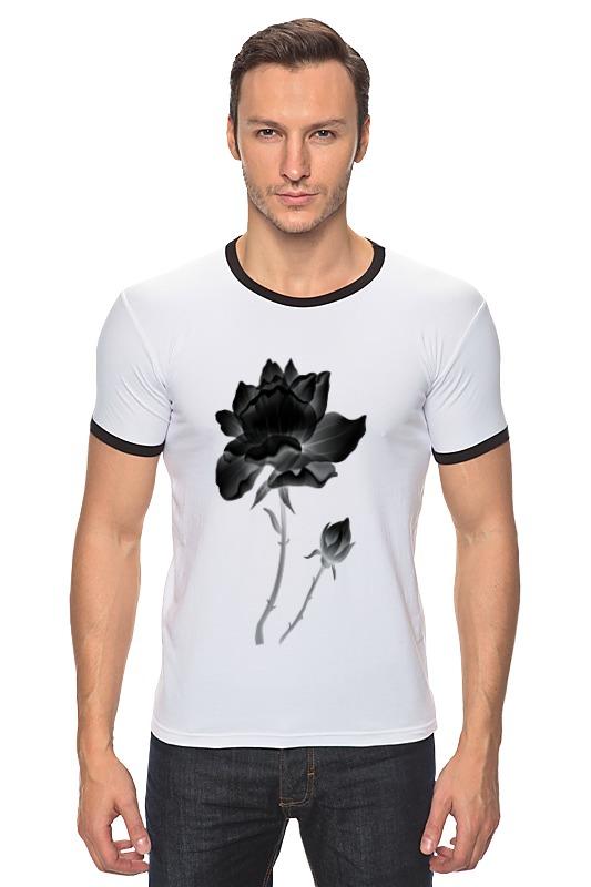 Футболка Рингер Printio Черная роза пламенная роза тюдоров