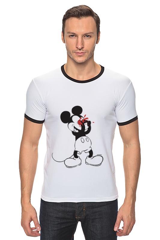 Футболка Рингер Printio Mickey mouse bloody eyes on white футболка и шорты mickey mouse 12мес красный