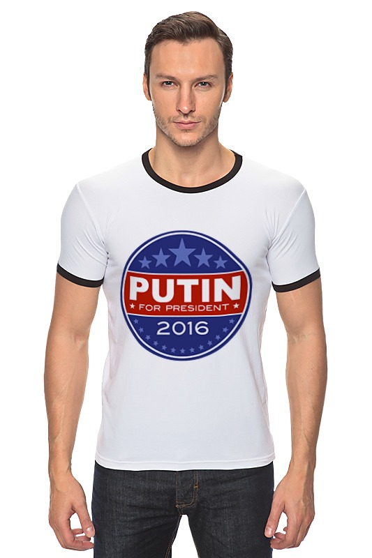 Футболка Рингер Printio Путина в президенты америки (2016) футболка классическая printio путина в президенты америки 2016