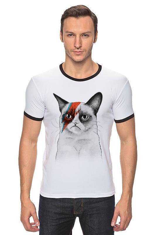 Футболка Рингер Printio Grumpy cat x bowie grumpy gardener