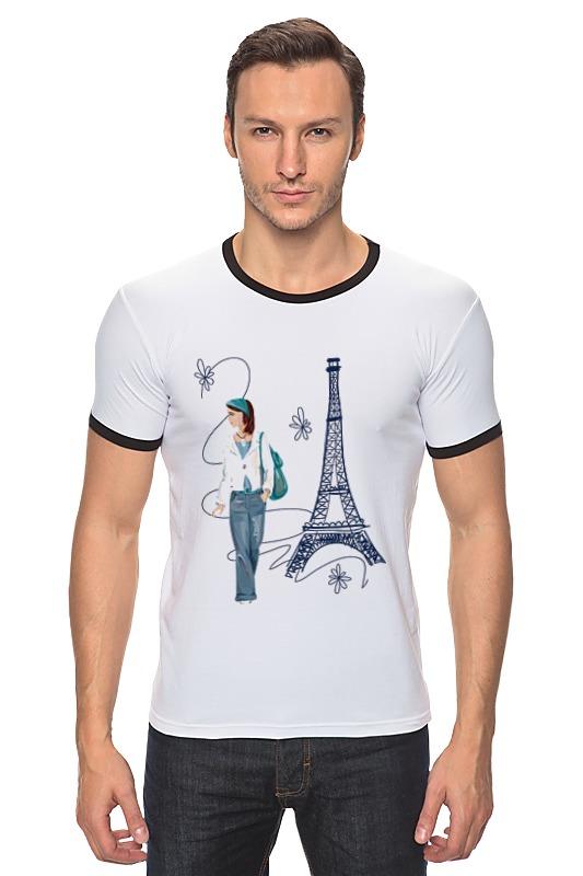Футболка Рингер Printio Парижанка макет эйфелевой башни спб