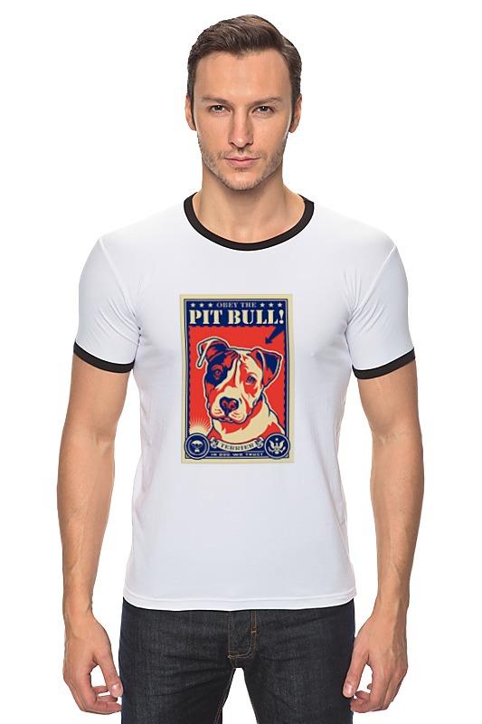 Футболка Рингер Printio Собака: pit bull футболка для беременных printio бешенный бык raging bull
