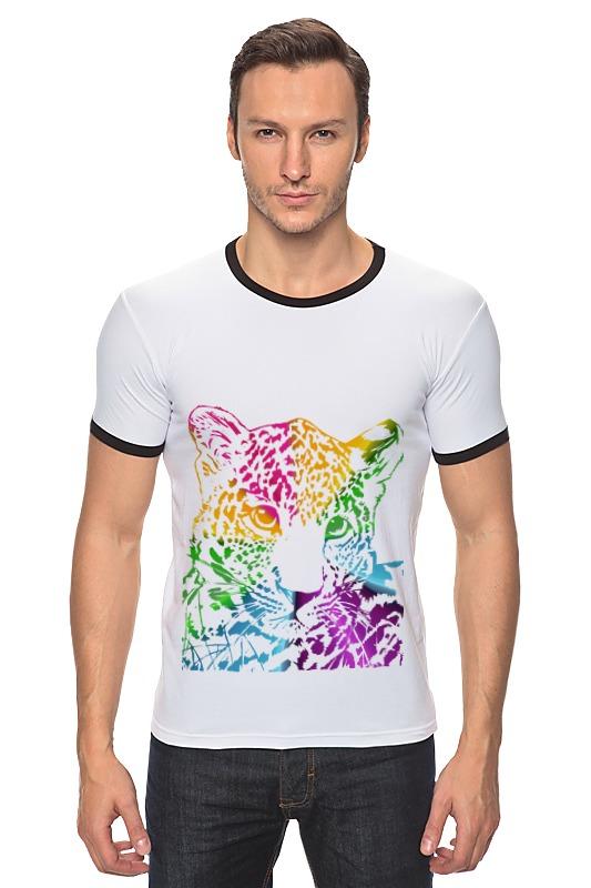 Футболка Рингер Printio Радужный леопард