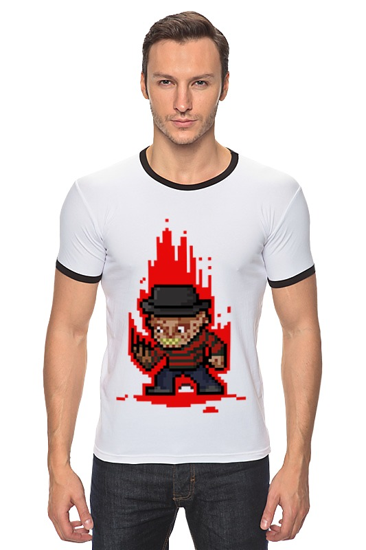 Футболка Рингер Printio Freddy krueger (8-bit) футболка wearcraft premium printio freddy krueger 8 bit