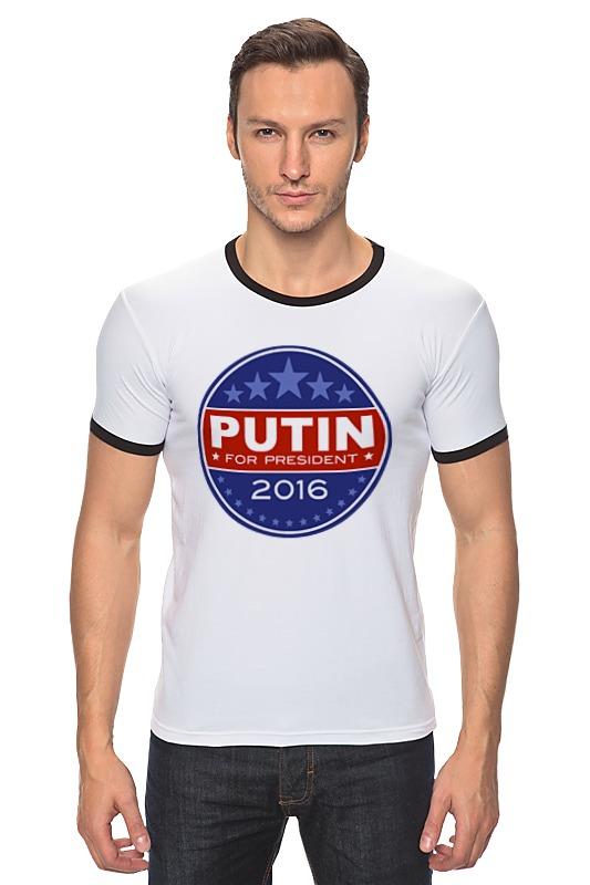 Футболка Рингер Printio Путина в президенты америки (2016) президенты ru