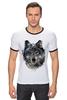 "Футболка ""Рингер"" (Мужская) ""Серый Волк"" - animal, волк, wolf"