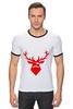 "Футболка ""Рингер"" (Мужская) ""Ho Ho Ho..."" - christmas, deer, reindeer"