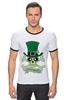 """Футболка """"Рингер"""" (Мужская) """"Настоящий Ирландец (100% Irish)"""" - череп, клевер, патрик, лепрекон, настоящий ирландец"""