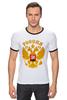 """Футболка """"Рингер"""" (Мужская) """"Россия герб"""" - русский, патриот, родина, держава, горжусь"""
