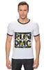 """Футболка """"Рингер"""" (Мужская) """"RUN DMC"""" - rap, цветы, нью-йорк, хип-хоп, run, dmc, nyc, run dmc, ран ди-эм-си"""