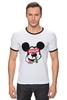 """Футболка """"Рингер"""" (Мужская) """"Микки Маус (Mickey Mouse)"""" - микки маус, дисней, high, вышка"""