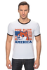 "Футболка ""Рингер"" (Мужская) ""Doge Bless America"" - мем, doge, собакен"