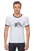 "Футболка ""Рингер"" (Мужская) ""Music Cat"" - музыка, кот, ноты, добро, кошаса"