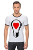 "Футболка ""Рингер"" (Мужская) ""BIG LAMP! SWITCH ON YOUR LOVE!"" - сердце, любовь, lamp, zogs, switch on your love"