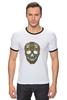 "Футболка ""Рингер"" (Мужская) ""Череп"" - skull, череп, узор, паттерн, символ, дудл"