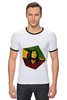 "Футболка ""Рингер"" (Мужская) ""Bob Marley"" - регги, ямайка, боб марли, bob marley, reggae, боб, ска, марли"
