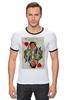 "Футболка Рингер ""Королева сердец"" - любовь, карты, рисунок, винтаж, королева"